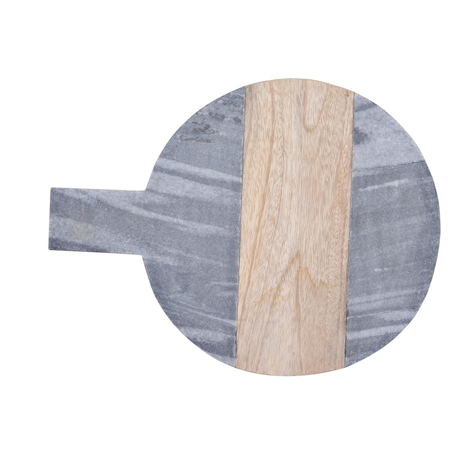 Quick View Grey Marble And Mango Wood Round Chopping Board